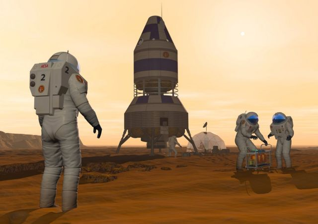 Ilustración de humanos viviendo en Marte.
