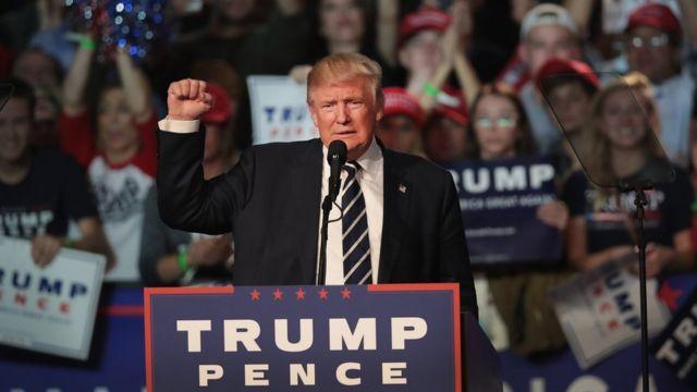 Trump at a rally in Michigan
