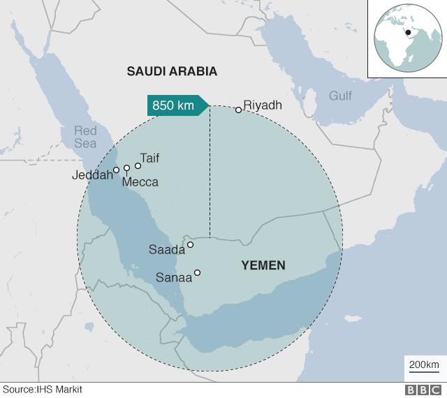 Map showing Houthi missile range