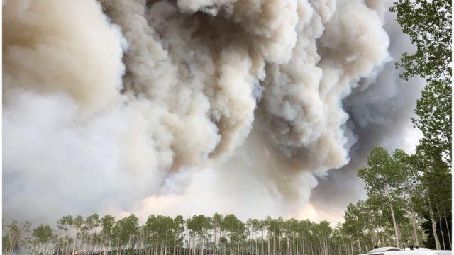 Fumaça de um incêncio florestal