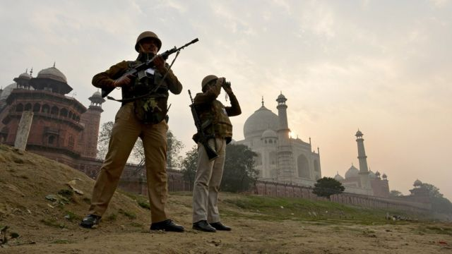 'Rapid Response' personnel stand guard at the back of the Taj Mahal, January 2015