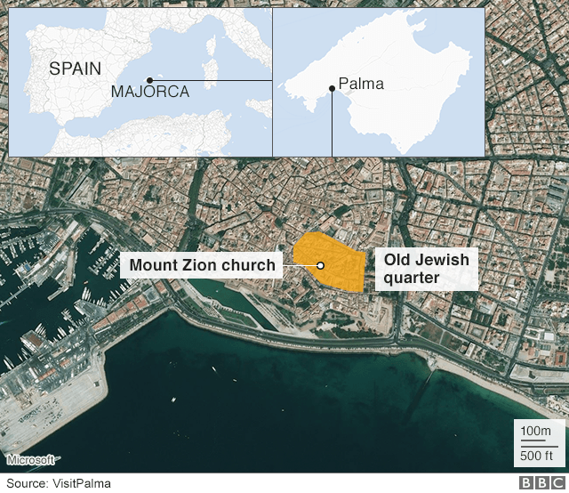Map of Palma showing Jewish quarter