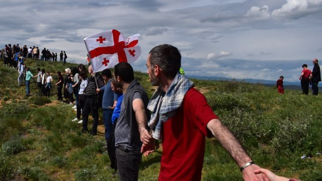 """Protesters of Sunday rally """"David Gareja is ours"""" at Udabno monastery"""