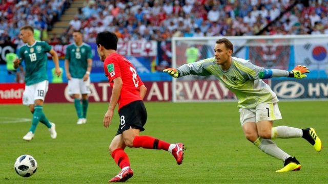 Neuer pierde el balón antes del segundo gol coreano.