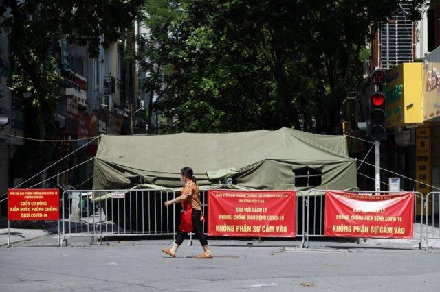 Khu vực cách ly ở Hà Nội, Việt Nam, ngày 13 tháng 8 năm 2021