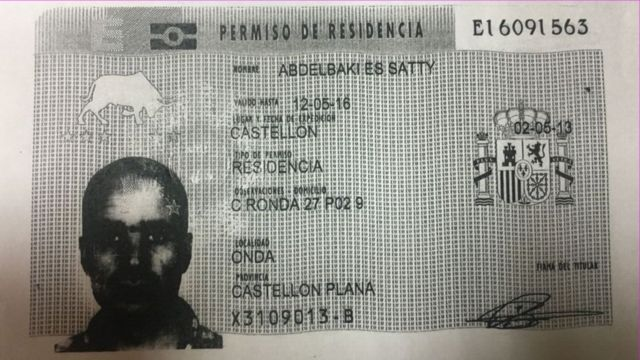 Abdelbaki Es Satty's residency card