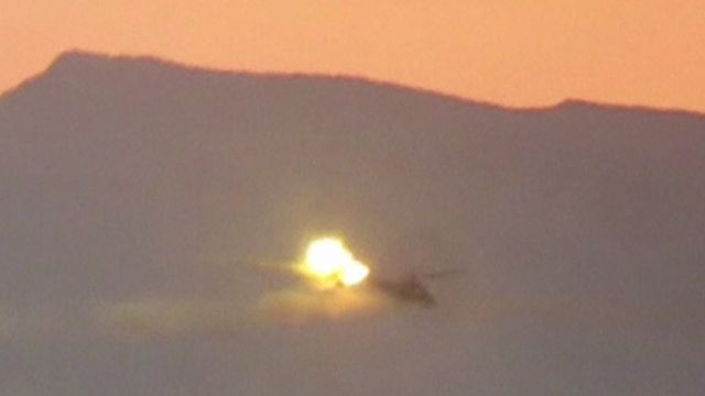 Helicopter at moment of shooting down