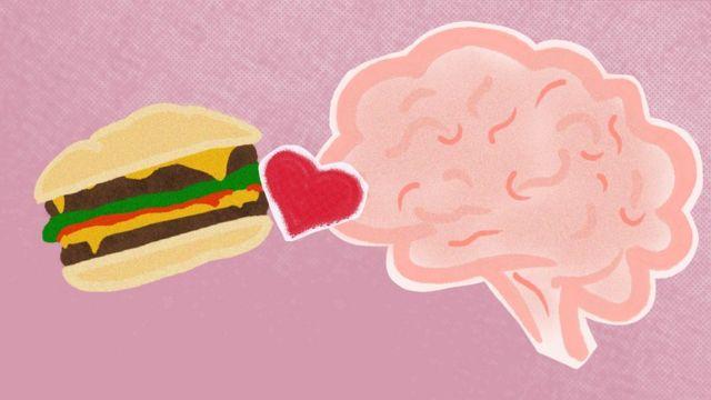 Ilustración de un cerebro comiendo una hamburguesa.