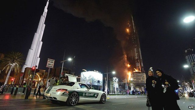Flames engulf the Address Downtown hotel in Dubai
