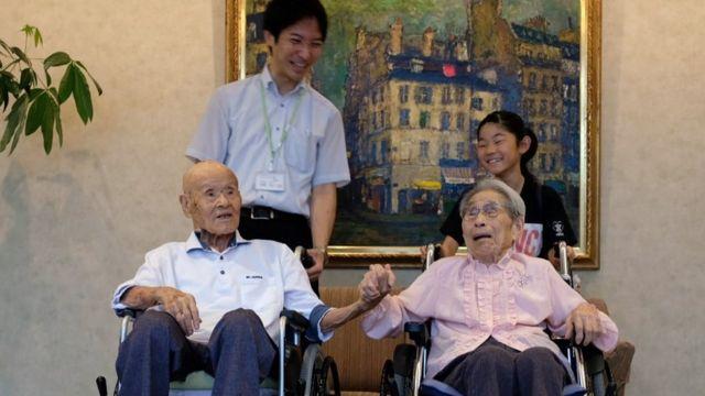 Pasangan tertua di Jepang ini memiliki 25 cicit.