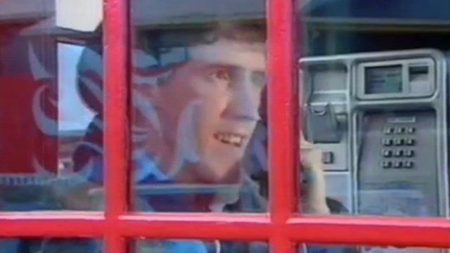 Rob Brydon in a phone box
