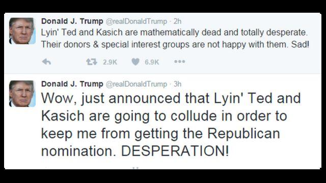 トランプ氏は、「おお、私が共和党候補に指名されないようにうそつきテッドとケーシックが共謀すると、さっき発表があった。必死だな!」とツイートした