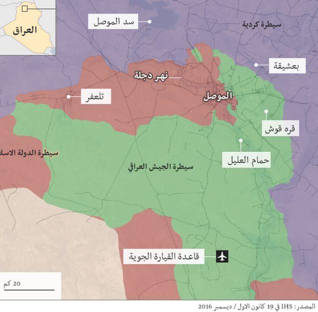 خارطة توزيع القوات في الموصل