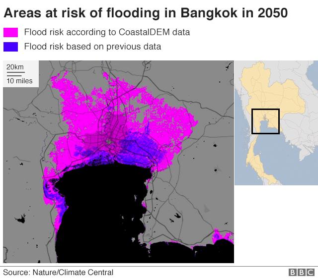Map showing flood risk in Bangkok 2050