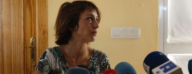 Juana Rivas en una conferencia de prensa.