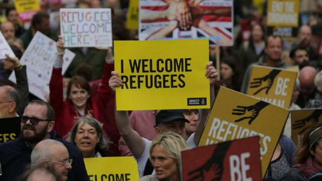 Refugees welcome in UK, say demonstrators on London march