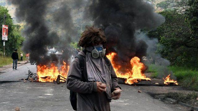 Protestante de la oposición en Honduras.