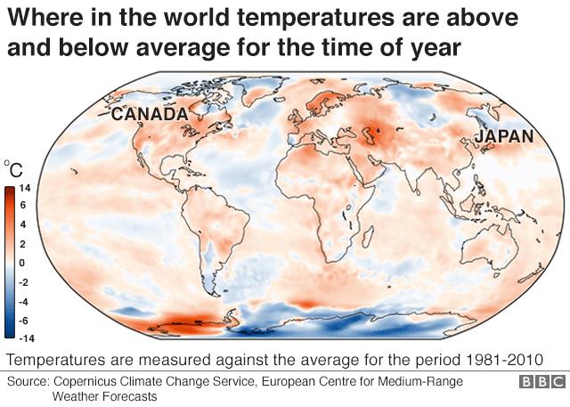 今の季節、世界で平年の気温より現在の気温が高い場所と低い場所をまとめた地図。赤い色が濃いほど平均気温より現在の気温が高く、青い色が濃いほど低い。平年の平均気温は1981年から2010年までの統計から算出