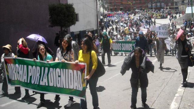 Marcha contra la carretera en 2011 en La Paz