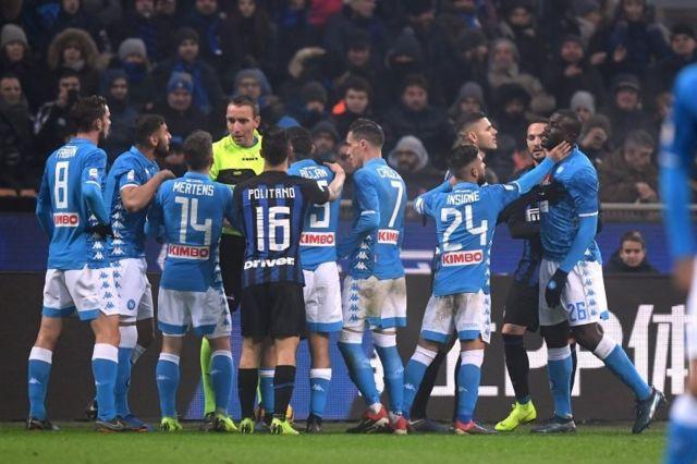 İnter-Napoli maçında çıkan kavga