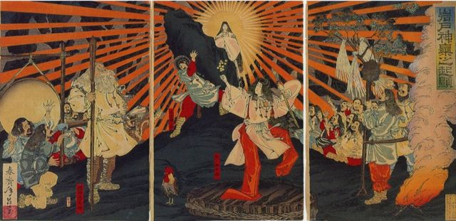 Amaterasu emerging from her cave - Japanese woodcut