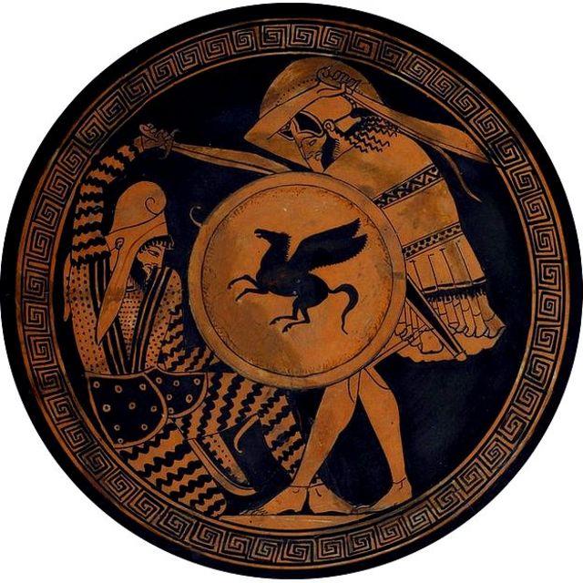 Escena de duelo entre persa y ateniense pintada en cerámica