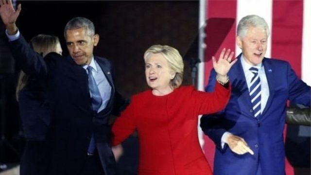 पूर्व विदेश मंत्री हिलेरी क्लिंटन और पूर्व राष्ट्रपति बराक ओबामा