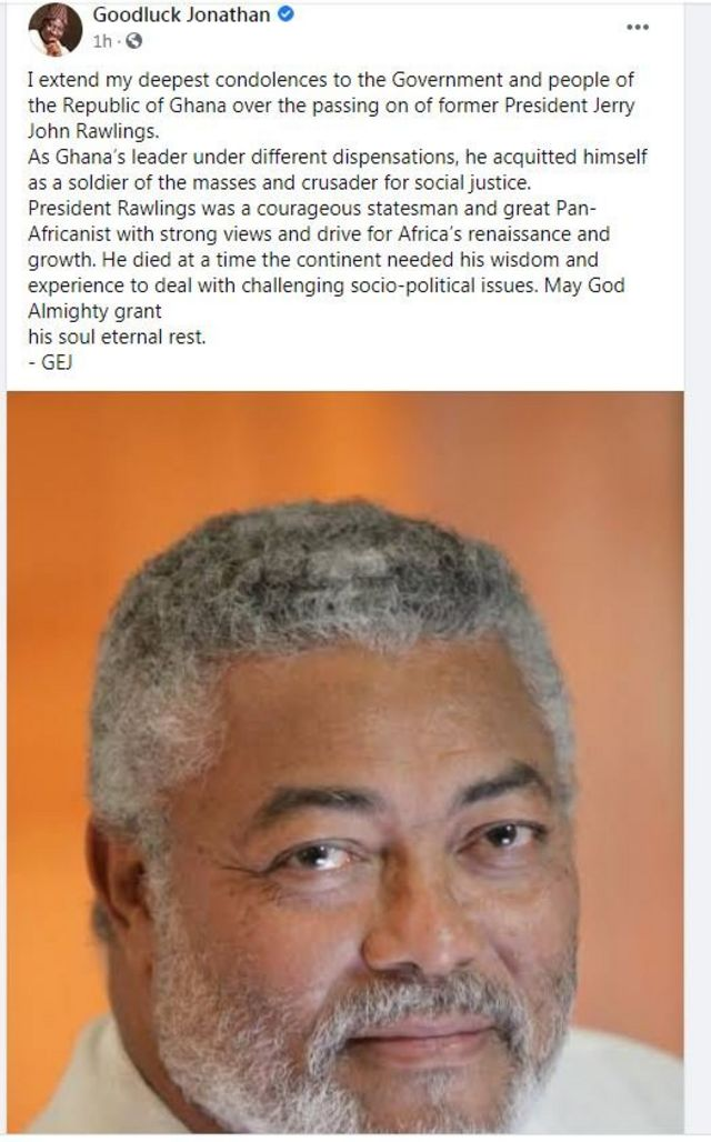 Goodluck Jonathan tribute to Rawlings