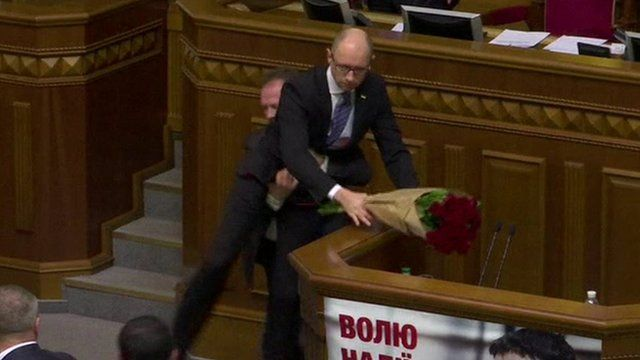 Arseniy Yatsenyuk lifted off his feet