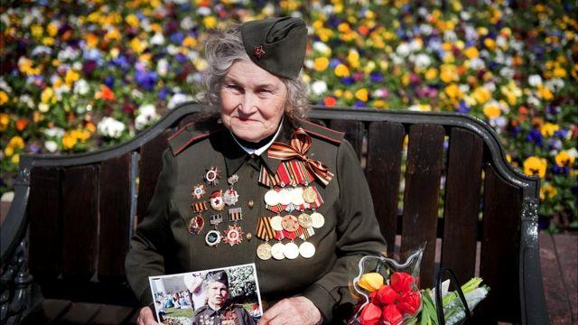 Combatiente rusa de la Segunda Guerra Mundial.