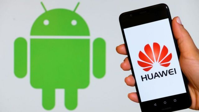 Logo de Android y celular Huawei
