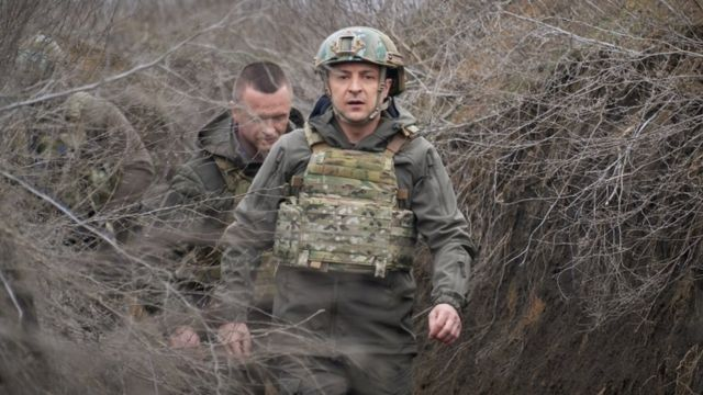 Ukrainian President Volodymyr Zelensky on a working visit to the conflict zone in eastern Ukraine on April 9, 2021
