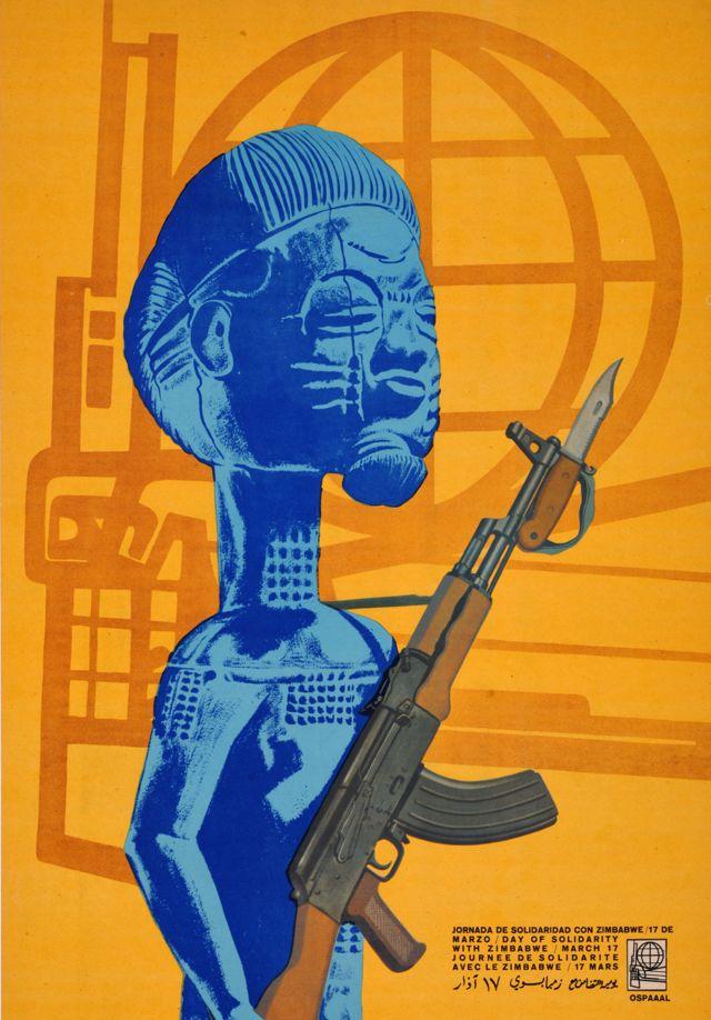 Une affiche Ospaaal intitulée Journée de solidarité avec le Zimbabwe, 1969. montrant une statue tenant une arme à feu.