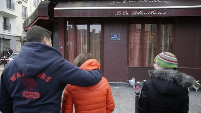 Mourners outside Carillon bar in Paris on 14 November