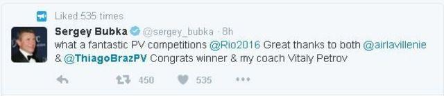 Sergey Bubka parabeniza Thiago via Twitter