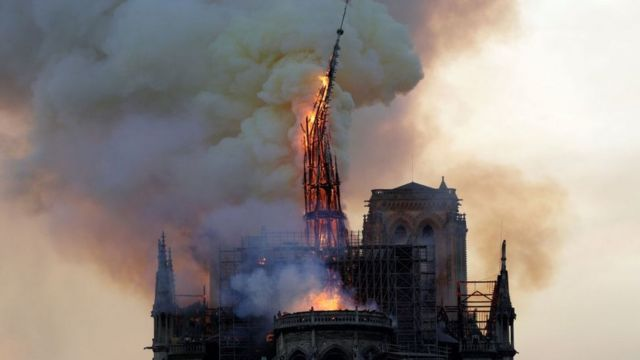 Notre Dame spire on fire in April 2019