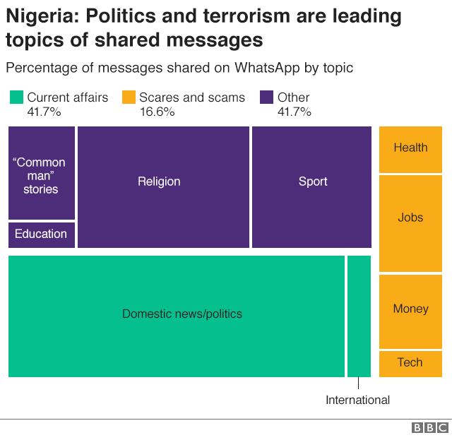 Graphic showing break of fake news stories by topic in Nigeria