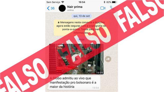 Mensagem falsa que circulou no WhatsApp com vídeo da Globonews usado por apoiadores de Bolsonaro