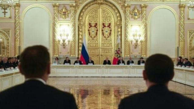 Встреча с бизнесменами проходила в большом зале Кремля