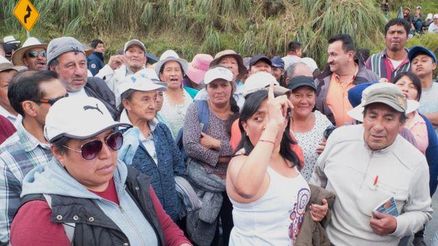 Campesinos en protesta en Ecuador