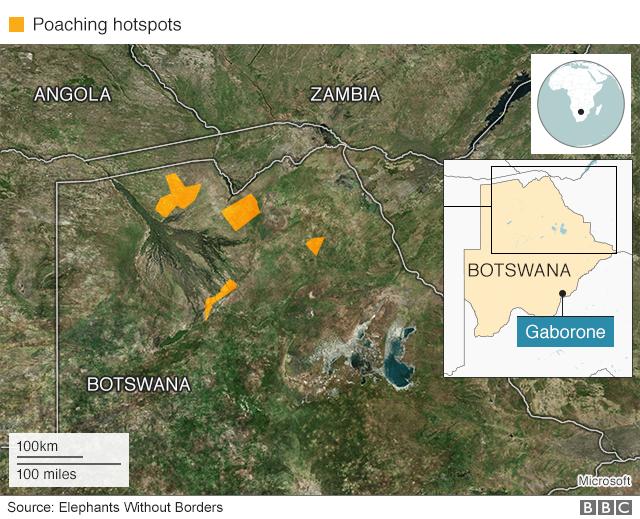 Map showing the poaching hotspots