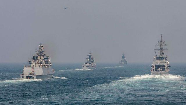 هند با آمریکا، ژاپن و استرالیا مانور دریایی داشته