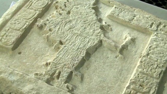 One of the Mayan panels uncovered by archaeologists
