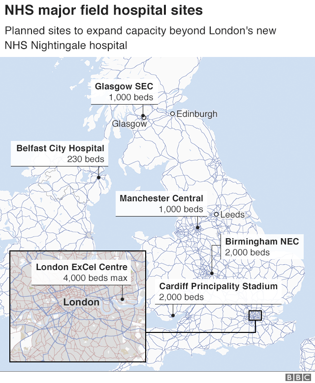 Map showing locations of NHS Nightingale in London and possible other locations