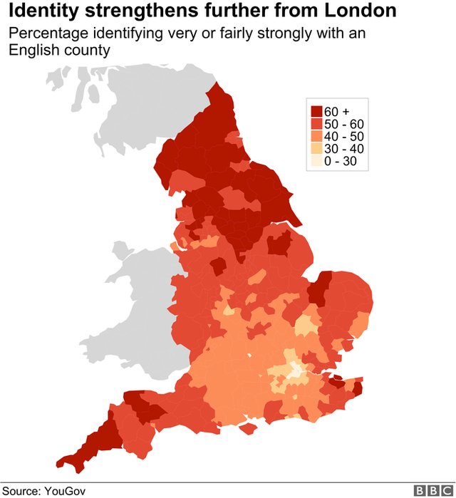 Map showing people's sense of connection with a county strengthens the further you go from London