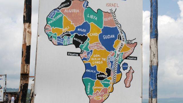 Un mapa en Kenia muestra cómo es el Rift de África Oriental.