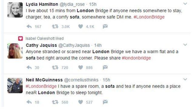 Tuits de ofertas de alojamiento cerca del Puente de Londres.