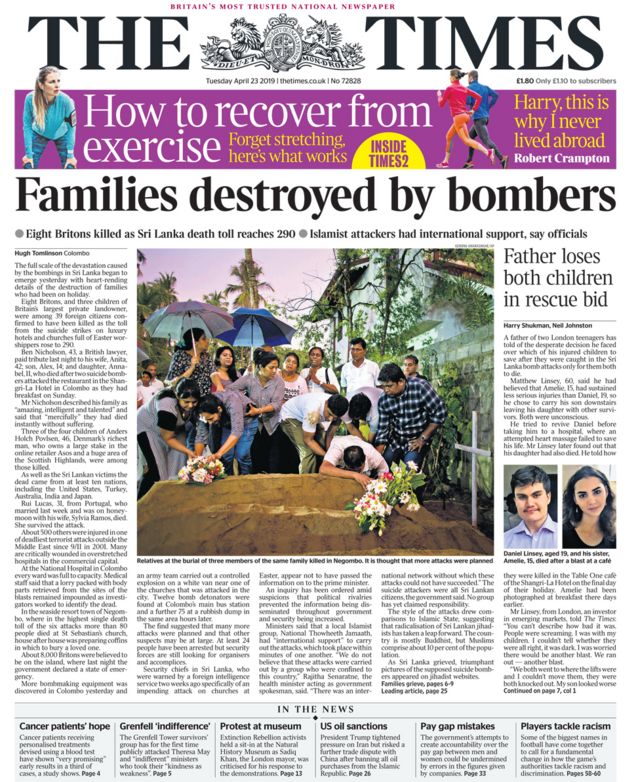 Newspaper headlines: 'Families destroyed by bombers'