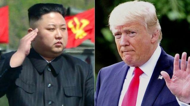 Kiongozi wa Korea Kaskazini Kim Jong-un na mwenzake wa Marekani Donald Trump