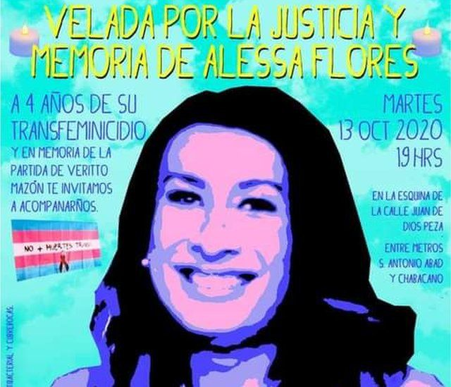 A poster for a memorial event on the anniversary of the killing of trans woman Alessa Flores